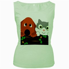 Baby Decoration Cat Dog Stuff Women s Green Tank Top by Celenk