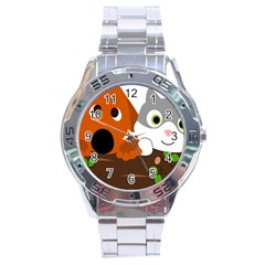 Baby Decoration Cat Dog Stuff Stainless Steel Analogue Watch by Celenk