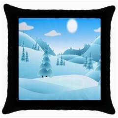 Landscape Winter Ice Cold Xmas Throw Pillow Case (black) by Celenk
