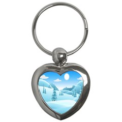 Landscape Winter Ice Cold Xmas Key Chains (heart)