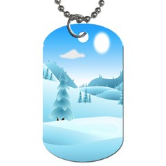 Landscape Winter Ice Cold Xmas Dog Tag (one Side) by Celenk