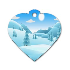 Landscape Winter Ice Cold Xmas Dog Tag Heart (one Side) by Celenk