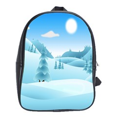 Landscape Winter Ice Cold Xmas School Bag (xl)