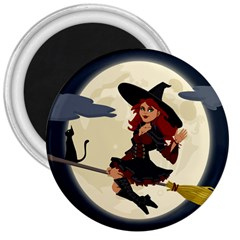 Witch Witchcraft Broomstick Broom 3  Magnets by Celenk