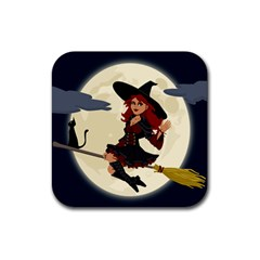 Witch Witchcraft Broomstick Broom Rubber Coaster (square)  by Celenk