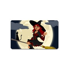 Witch Witchcraft Broomstick Broom Magnet (name Card) by Celenk