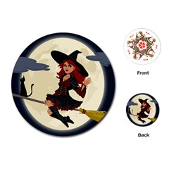 Witch Witchcraft Broomstick Broom Playing Cards (round)  by Celenk