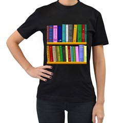 Shelf Books Library Reading Women s T Shirt (black) (two Sided)