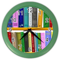 Shelf Books Library Reading Color Wall Clocks