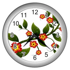 Flower Branch Nature Leaves Plant Wall Clocks (silver)  by Celenk