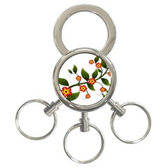 Flower Branch Nature Leaves Plant 3 Ring Key Chains by Celenk