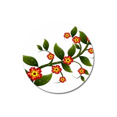 Flower Branch Nature Leaves Plant Magnet 3  (round) by Celenk