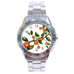 Flower Branch Nature Leaves Plant Stainless Steel Analogue Watch by Celenk