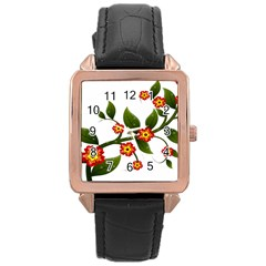 Flower Branch Nature Leaves Plant Rose Gold Leather Watch  by Celenk