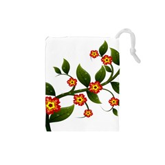Flower Branch Nature Leaves Plant Drawstring Pouches (small)  by Celenk