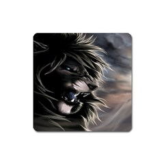 Angry Lion Digital Art Hd Square Magnet