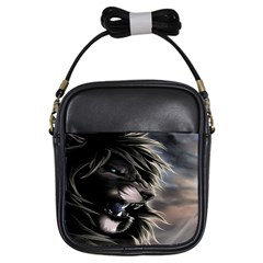 Angry Lion Digital Art Hd Girls Sling Bags