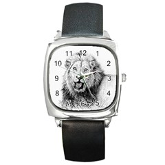 Lion Wildlife Art And Illustration Pencil Square Metal Watch