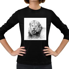 Lion Wildlife Art And Illustration Pencil Women s Long Sleeve Dark T-shirts by Celenk
