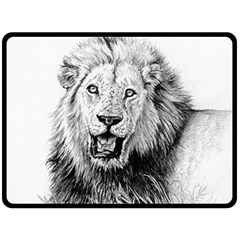 Lion Wildlife Art And Illustration Pencil Fleece Blanket (large)