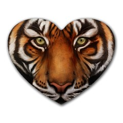 The Tiger Face Heart Mousepads by Celenk