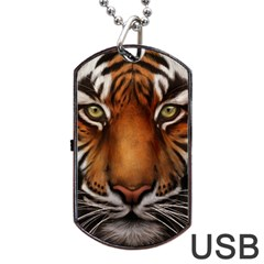 The Tiger Face Dog Tag Usb Flash (one Side) by Celenk