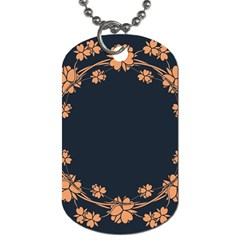 Floral Vintage Royal Frame Pattern Dog Tag (one Side)