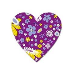 Floral Flowers Heart Magnet