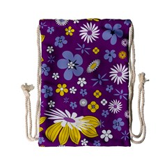 Floral Flowers Drawstring Bag (small) by Celenk