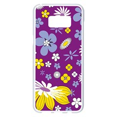 Floral Flowers Samsung Galaxy S8 Plus White Seamless Case by Celenk