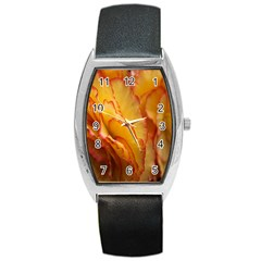 Flowers Leaves Leaf Floral Summer Barrel Style Metal Watch