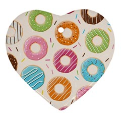 Colored Doughnuts Pattern Heart Ornament (two Sides)