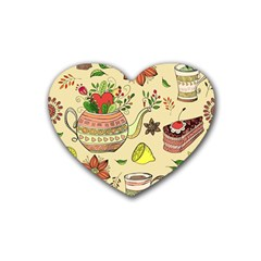 Colored Afternoon Tea Pattern Rubber Coaster (heart)  by allthingseveryday