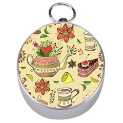 Colored Afternoon Tea Pattern Silver Compasses by allthingseveryday