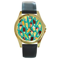 Summer Treats Round Gold Metal Watch by allthingseveryday