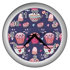 Afternoon Tea And Sweets Wall Clocks (silver)  by allthingseveryday