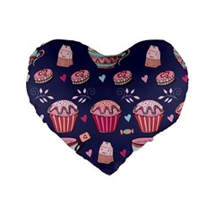 Afternoon Tea And Sweets Standard 16  Premium Heart Shape Cushions by allthingseveryday