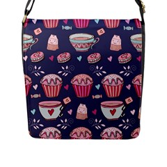 Afternoon Tea And Sweets Flap Messenger Bag (l)  by allthingseveryday