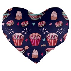 Afternoon Tea And Sweets Large 19  Premium Flano Heart Shape Cushions by allthingseveryday