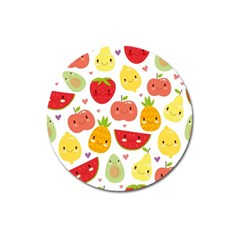 Happy Fruits Pattern Magnet 3  (round) by allthingseveryday
