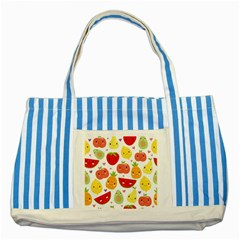Happy Fruits Pattern Striped Blue Tote Bag by allthingseveryday