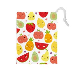 Happy Fruits Pattern Drawstring Pouches (large)  by allthingseveryday