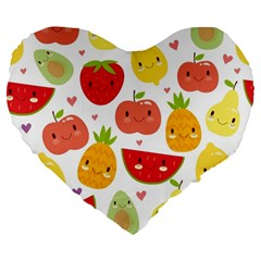 Happy Fruits Pattern Large 19  Premium Flano Heart Shape Cushions by allthingseveryday