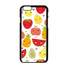 Happy Fruits Pattern Apple Iphone 6/6s Black Enamel Case by allthingseveryday
