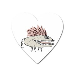 Monster Rat Hand Draw Illustration Heart Magnet by dflcprints