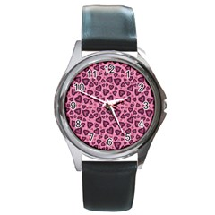 Leopard Heart 03 Round Metal Watch by jumpercat