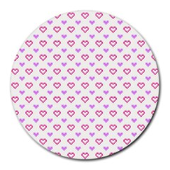 Pixel Hearts Round Mousepads by jumpercat