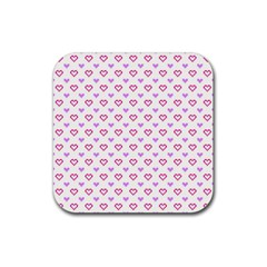 Pixel Hearts Rubber Coaster (square)  by jumpercat