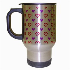 Pixel Hearts Travel Mug (silver Gray) by jumpercat
