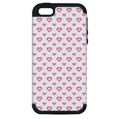 Pixel Hearts Apple Iphone 5 Hardshell Case (pc+silicone) by jumpercat